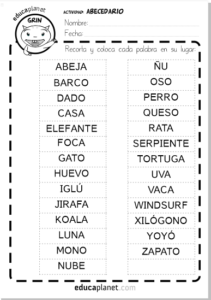 Ficha Orden Alfabético Imprimible Gratuita Educaplanet Apps