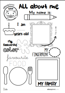 All about me FREE worksheet