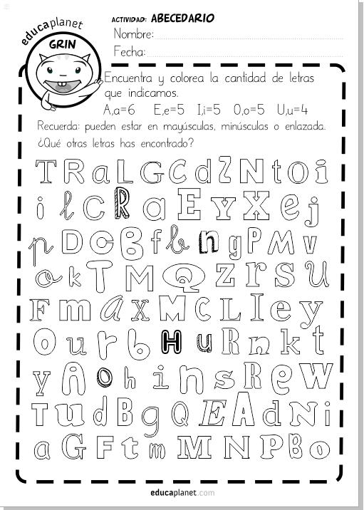 ABECEDARIO busca y colorea letras imprimible GRATIS EDUCAPLANET APPS
