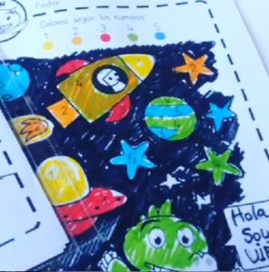 colorea con números infantil espacio