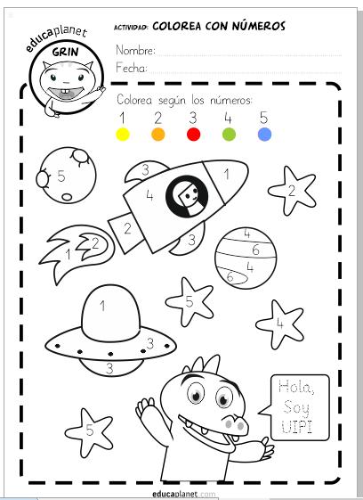 colorea espacio eb educaplanet números