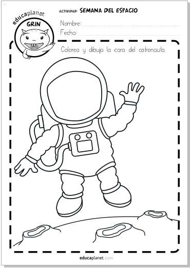 Ficha colorea Semana Mundial Espacio ficha gratis