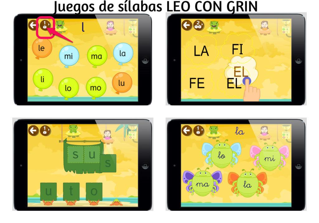 Juegos sílabas directas Leo con Grin