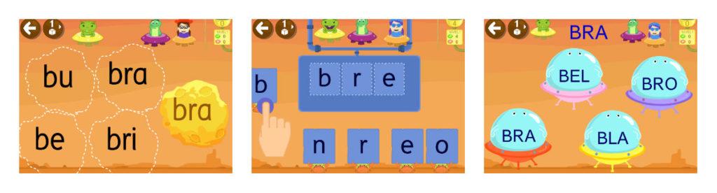 Juegos de sílabas trabadas lectoescritura con GRIN