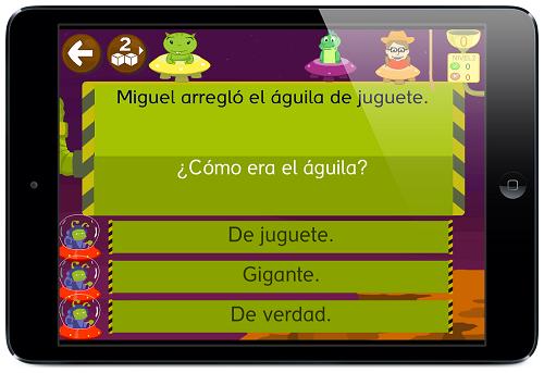 Jueogo de comprensión lectora app APRENDER A LEER 2