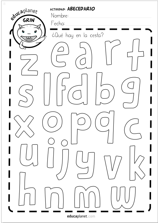 bolsa abecedario reconocer letras