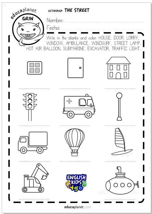 street vocabulary worksheet preschool educaplanet