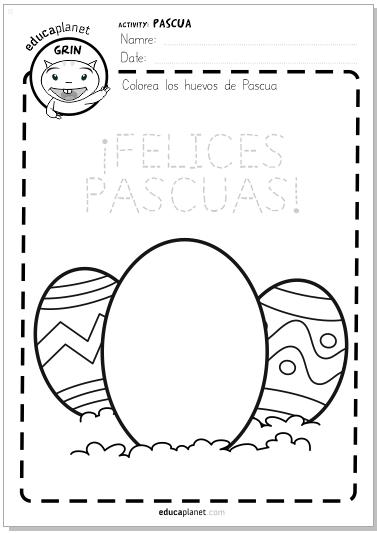 ficha huevo semana santa pascua colorea educaplanet