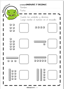 Decenas unidades FICHA matemáticas infantil