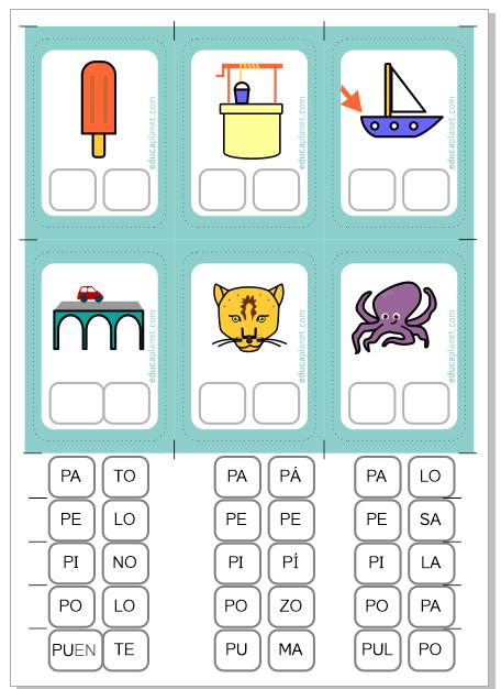 Conciencia fonológica sílabas ejercicios