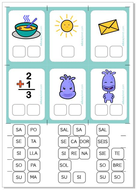 Conciencia fonológica ejercicios letra S aprender a leer español niños 6 años