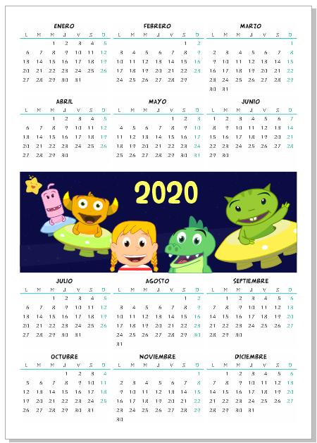 calendario 2020 infantil gratis