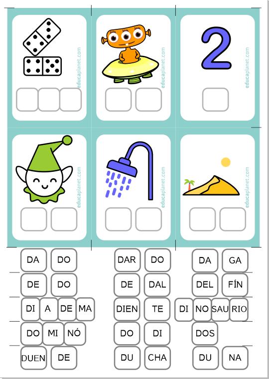 Aprender a leer ejercicios palabras letra d para 6 años