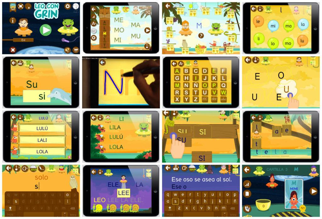 Ejercicios aprender palabras juegos interactivos aplicación LEO CON GRIN