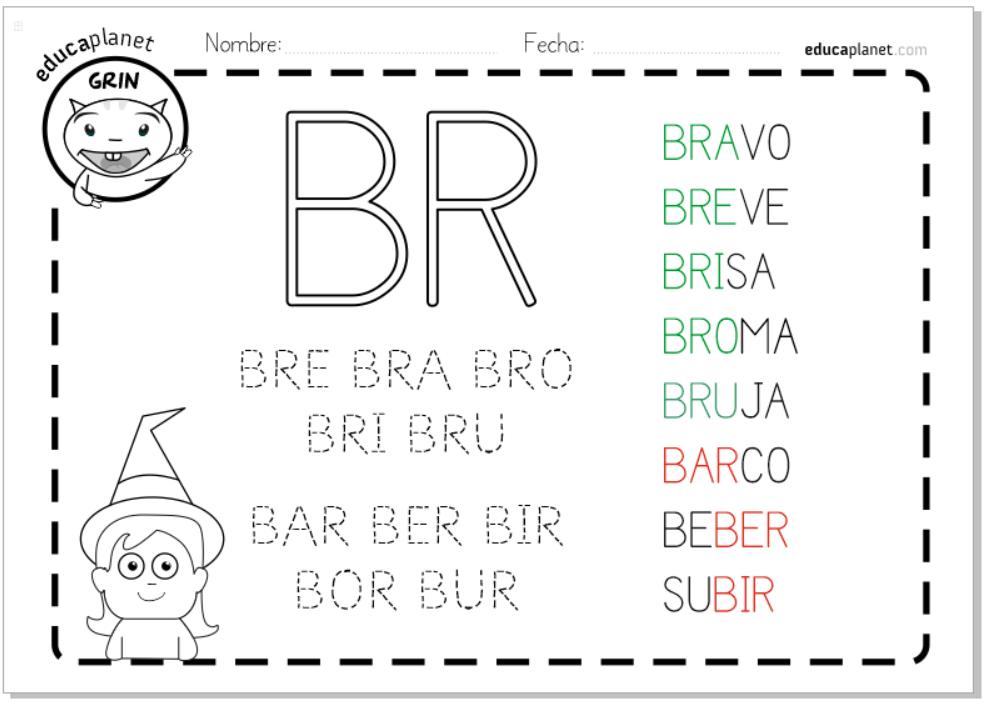 Fichas sílabas trabadas R - BRA BRE BRI BRO BRU