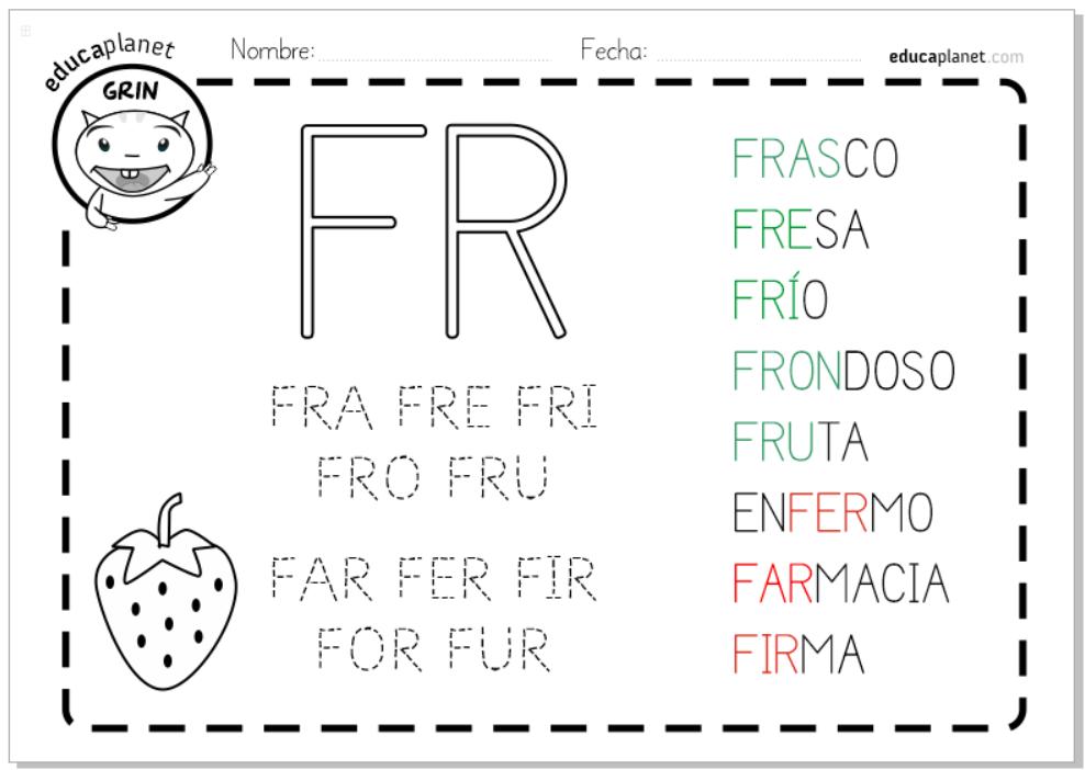 Fichas sílabas trabadas R - FRA FRE FRI FRO FRU