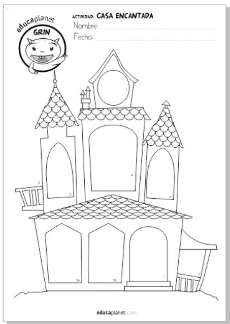 Ficha gratis educaplanet casa Halloween comprensión lectora y creatividad infantil