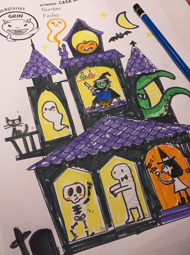 Lee, dibuja y escribe - actividad GRATIS preescolar y Primaria comprensión lectora Halloween