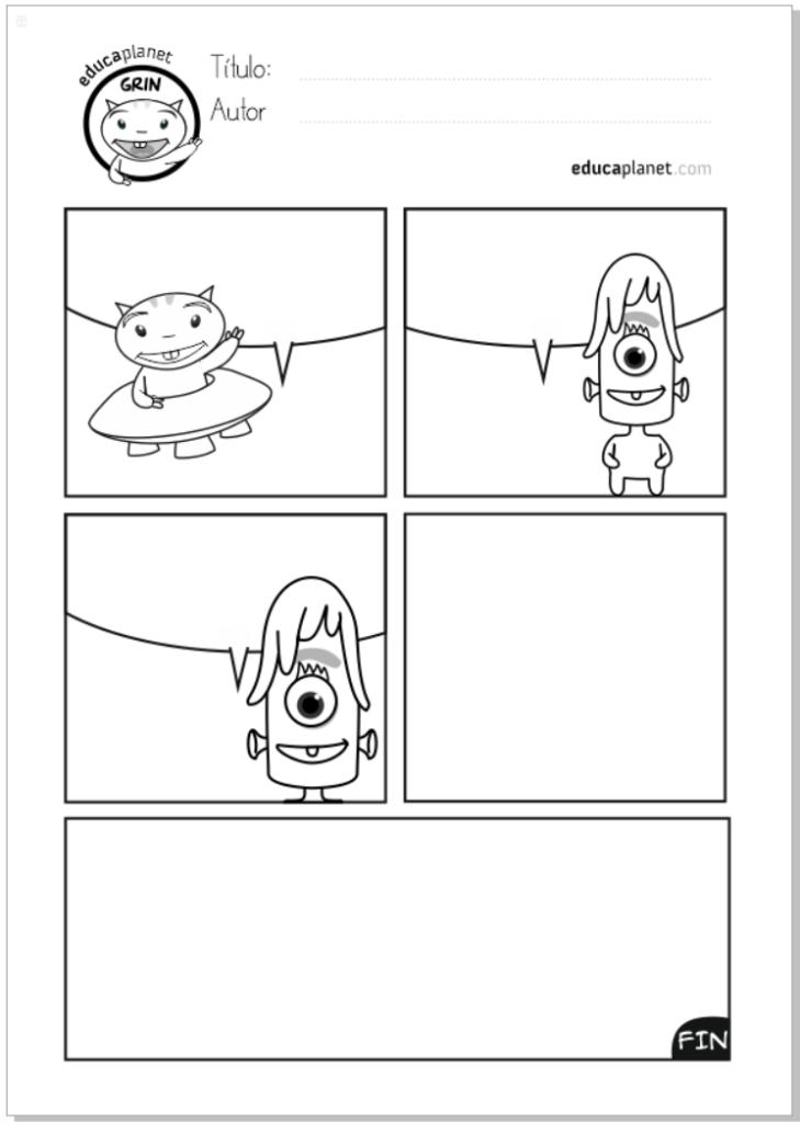 Completa el comic - actividad de escritura  - Aprender a leer y escribir con Grin