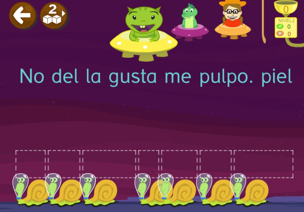 Ordena las palabras y forma una frase - aprender a leer 2 con grin N2