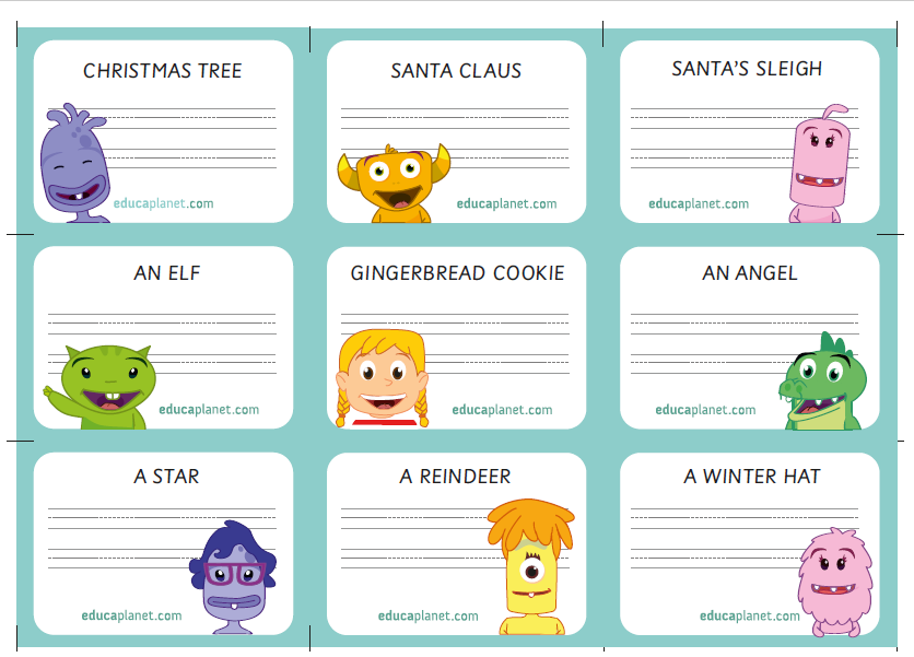 Vocabulary Christmas cads