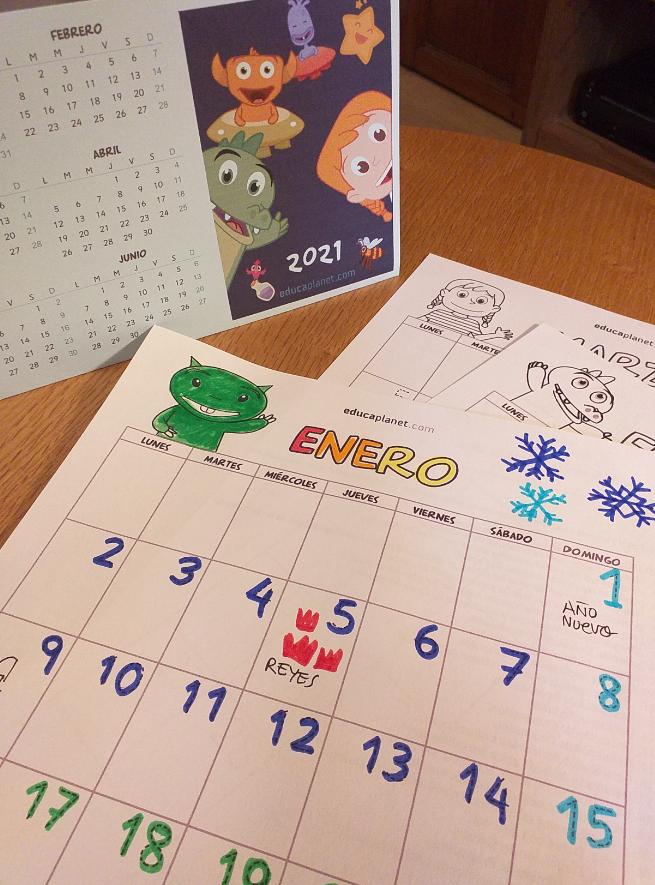 Calendario imprimible gratis 2021 Educaplanet