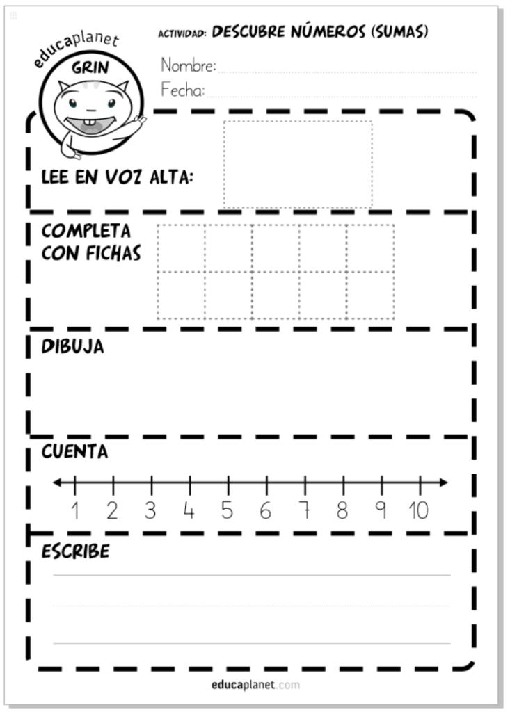 Descubrir números Educaplanet Ficha gratis Infantil y primaria