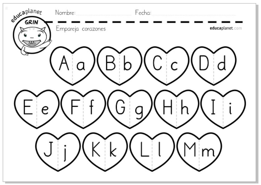 abecedario corazones educaplanet