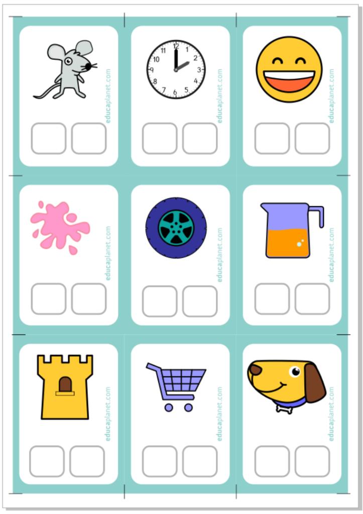 Ficha tarjetas conciencia fonológica R para descargar e imprimir GRATIS para casa o aula. Aprender a leer.