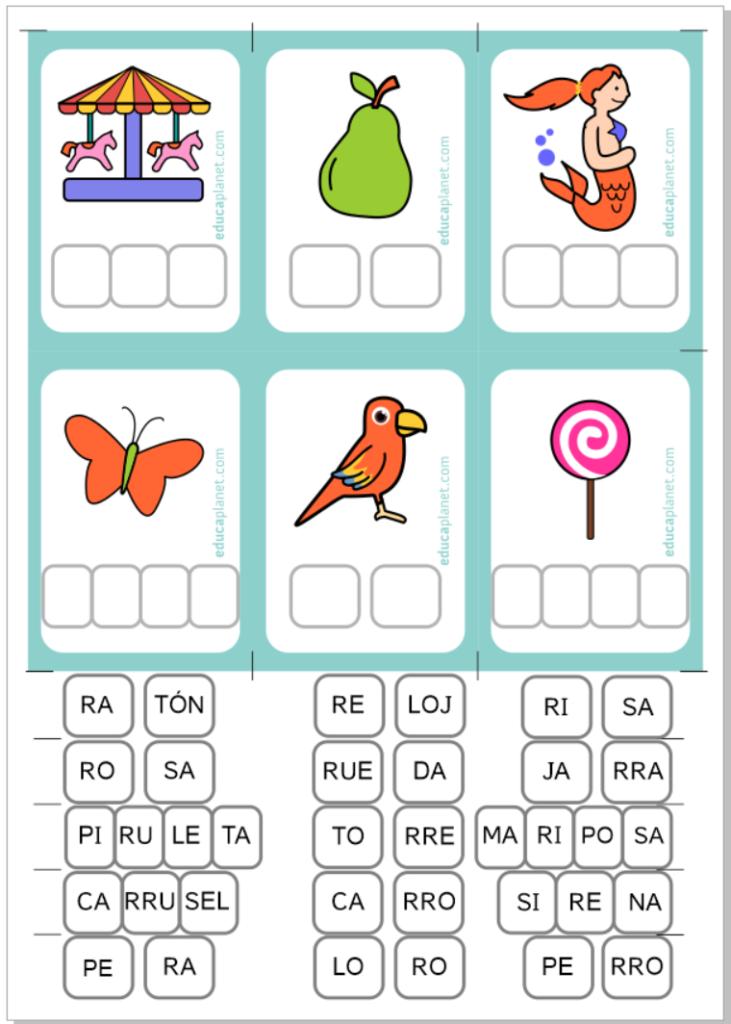 Descarga GRATIS tarjetas conciencia fonológica letra R -RR -R suave y fuerte. Actividades con imagen letra R.