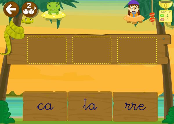 En cada lección de la aplicación LEO CON GRIN 1 hay 14 juegos para practicar