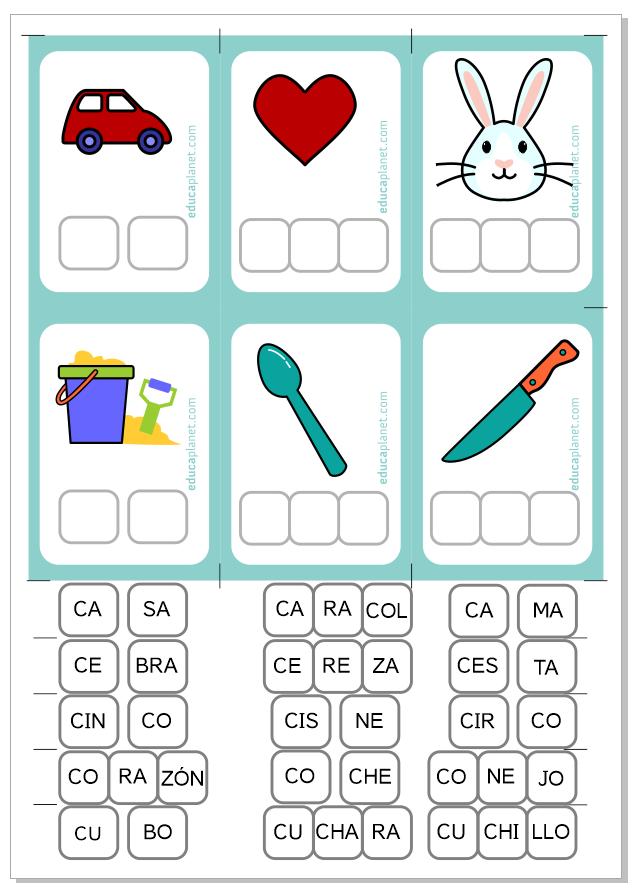 Imprime y repasa. Aprendiendo sílabas ca co cu ce ci. Material gratuito Infantil y Primaria 5 años 6 años