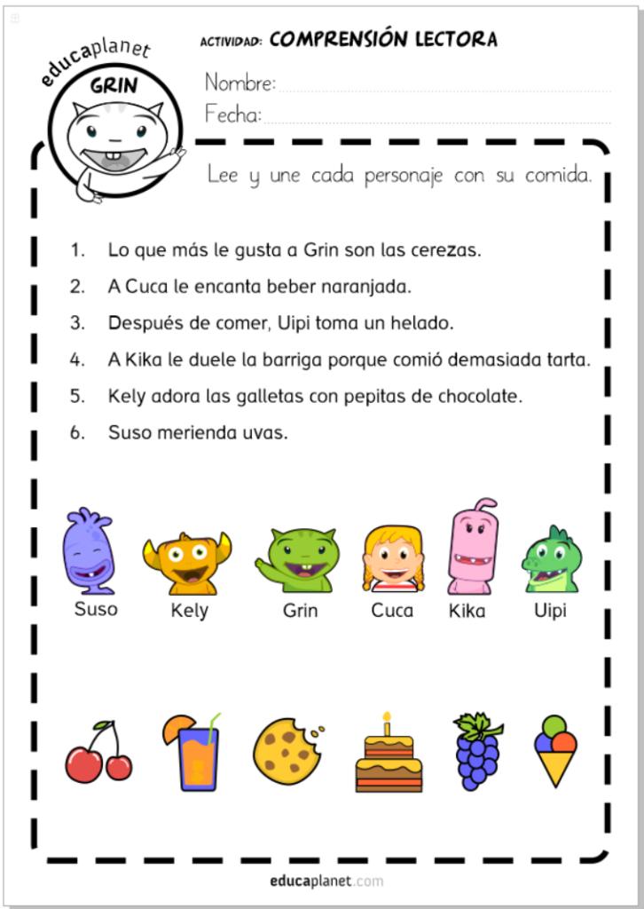 Ejercicios de comprensión lectora Infantil y primaria