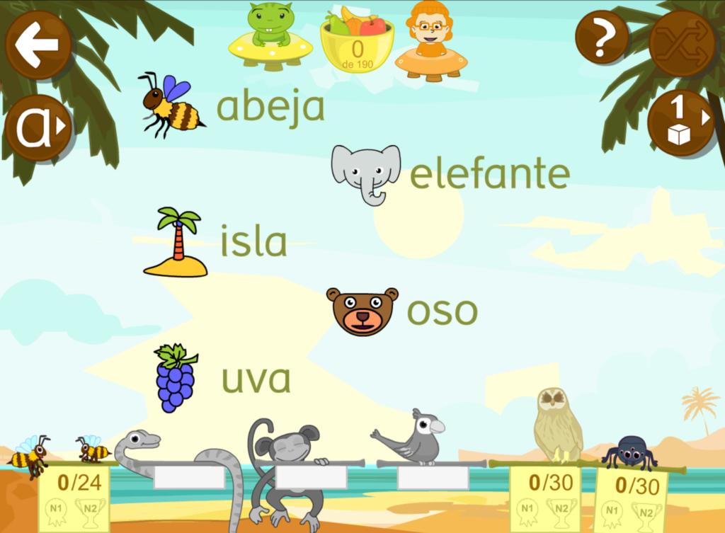 Juegos educativos de sonido inicial para relacionar palabra e imagen