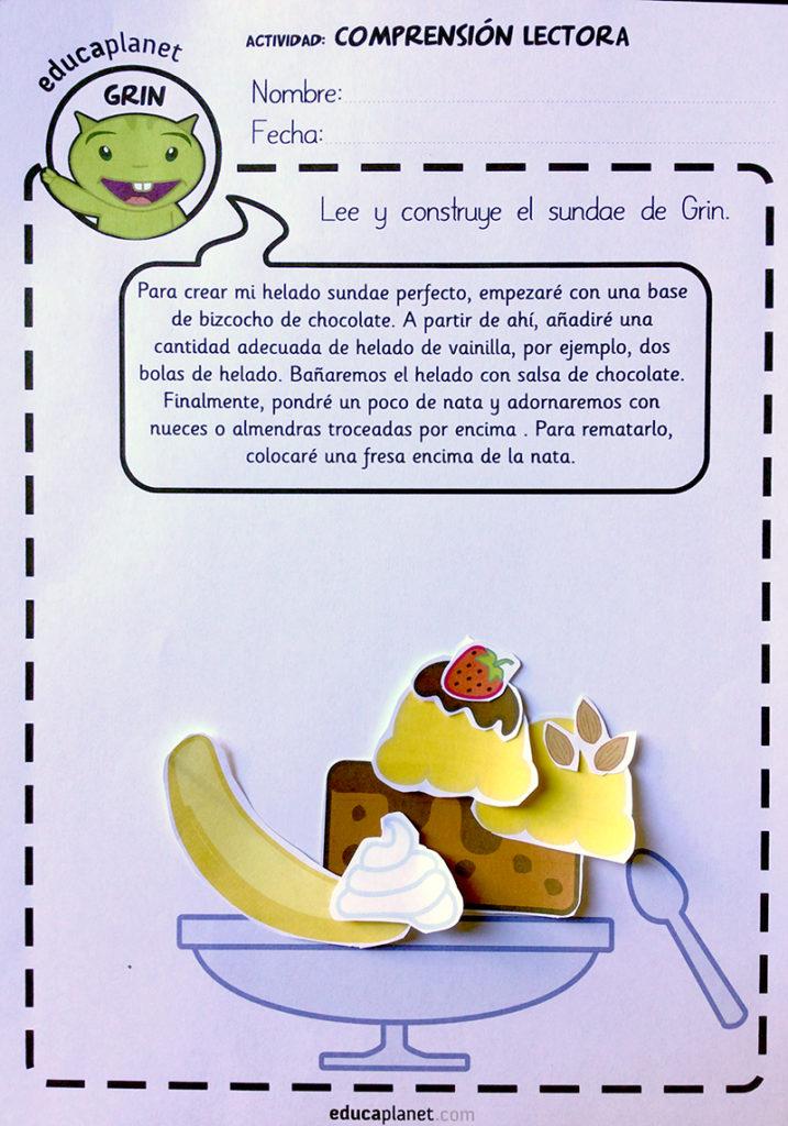 Comprensión lectora lee y construye helado sundae o describe el tuyo.
