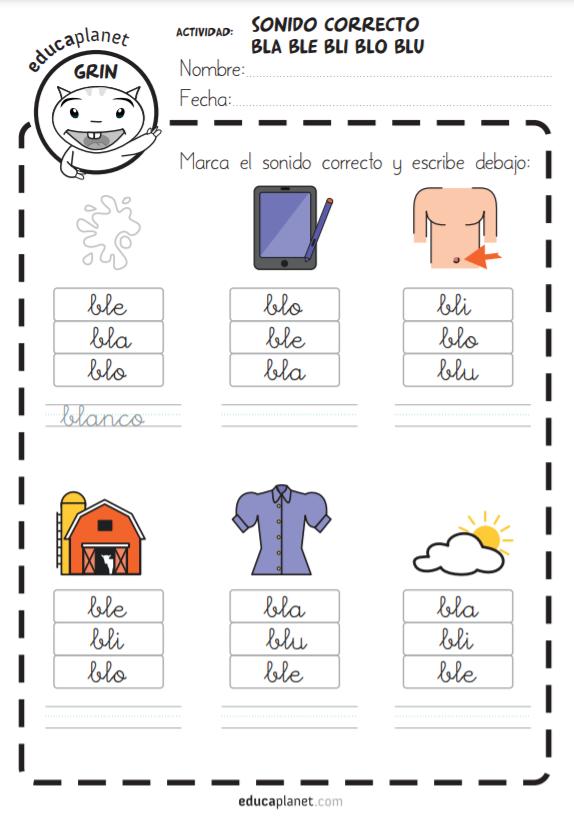 Recursos sílabas trabadas L - complementario a aprender a LEER CON GRIN 2