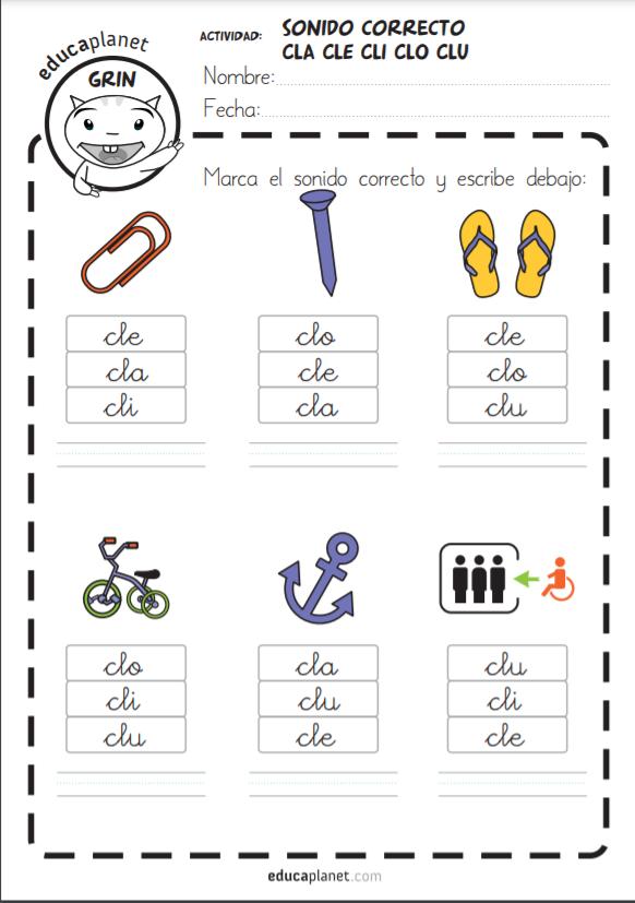 Fichas y recursos sílabas trabadas L - imprimir y repasar lectoescritura